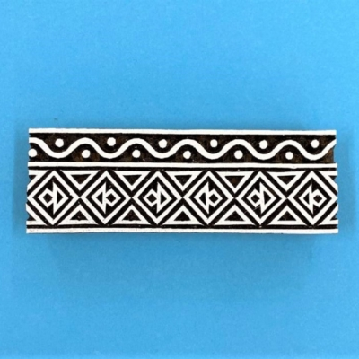 Indian Wooden Printing Block - Patterned Border