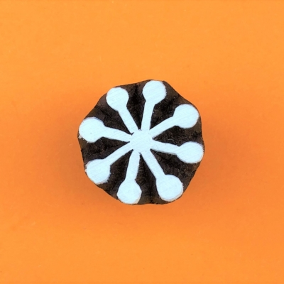 Indian Wooden Printing Block - Mini 8 Point Seed Head