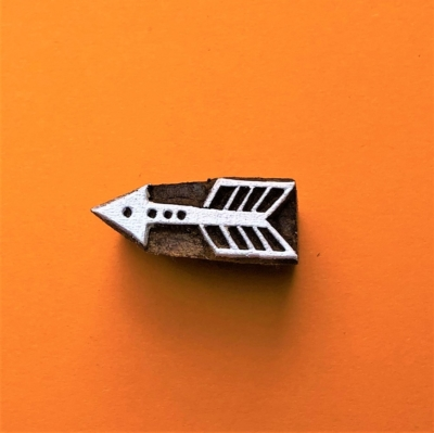 Indian Wooden Printing Block - Mini Arrow