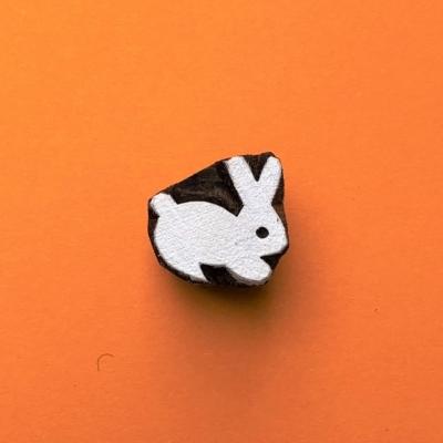 Indian Wooden Printing Block - Mini Bunny