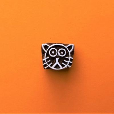 Indian Wooden Printing Block - Mini Cat Face