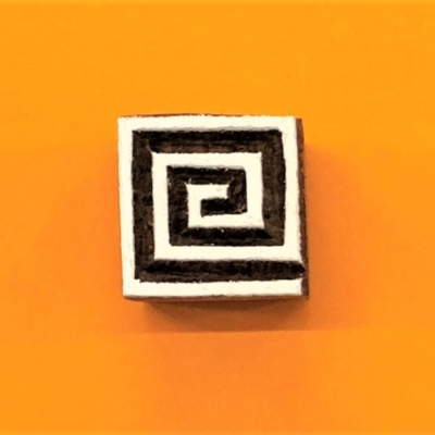 Indian Wooden Printing Block - Mini Spiral Square