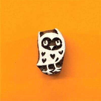 Indian Wooden Printing Block - Mini Standing Owl