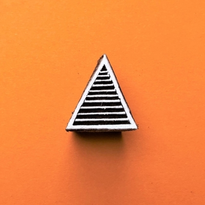 Indian Wooden Printing Block - Mini Stripy Triangle