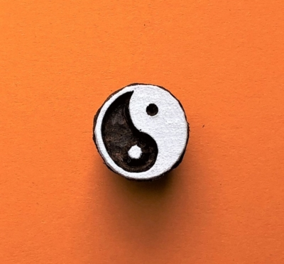 Indian Wooden Printing Block - Mini Yin & Yang