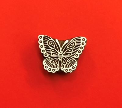 Indian Wooden Printing Block - Stylised Butterfly