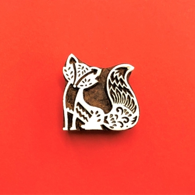 Indian Wooden Printing Block - Stylised Fox