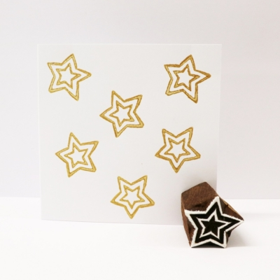 Indian Wooden Printing Block - Mini Outline Double Star