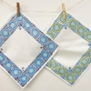Block Printed Cotton Napkins- Printed with Small Moroccan Tile in SoSoft Fabric Paint