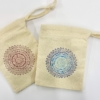 Block Printing Mini Calico Drawstring Bag- Intricate Circle Mandala Design