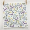 Hare and Cow Parsley Napkin, printed in 'Bright Dusky' set of Fabric Paints