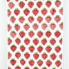 Strawberry Block Printed Tea Towel- Red and Grass Green Fabric Paint