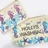 Block Printed Fabric Wash Bag in Seahorse design