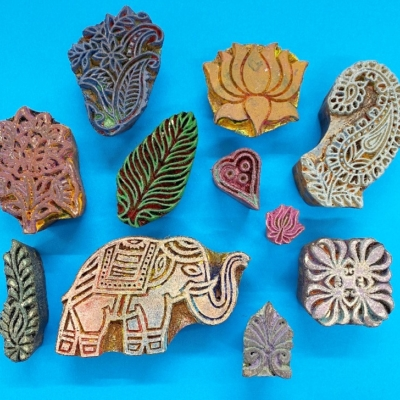 Ethnic Elephant & Paisley- Set of Workshop Printing Blocks