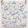 Hares and Seed Heads Block Printed Napkin, printed using Pretty Dusky Fabric Paint Set