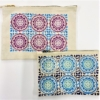 Block Printed Large & Medium Flat Zip Pouch- printed in Small Moroccan Tile