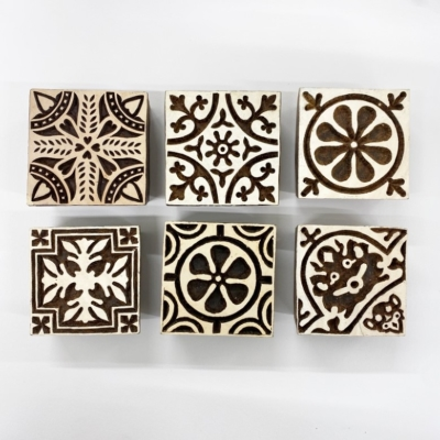 6 Patterned Tile Printing Blocks