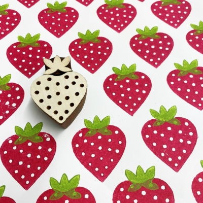 Indian Wooden Printing Block- 2 Part Strawberry