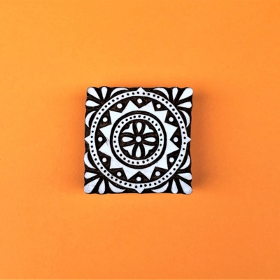 Indian Wooden Printing Block - Small Moroccan Tile