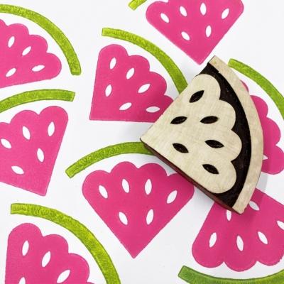 Indian Wooden Printing Block- Watermelon Slice