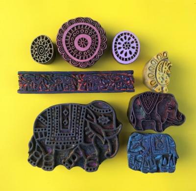 Indian Wooden Workshop Printing Set - Indian Elephants