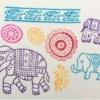 Indian Wooden Workshop Printing Set - Indian Elephants Sample