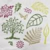 Printed Fabric- Tree & Leaves set of workshop printing blocks