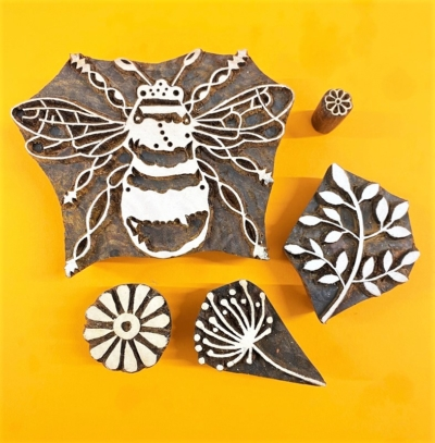 Set of Indian Wooden Printing Blocks- Large Bee and Flowers