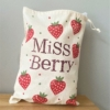 Block Printed Strawberry Drawstring Bag