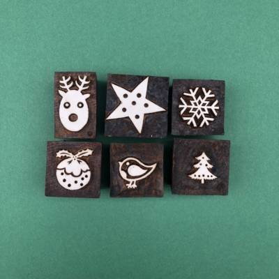 Indian Wooden Printing Set - 6 Christmas Designs