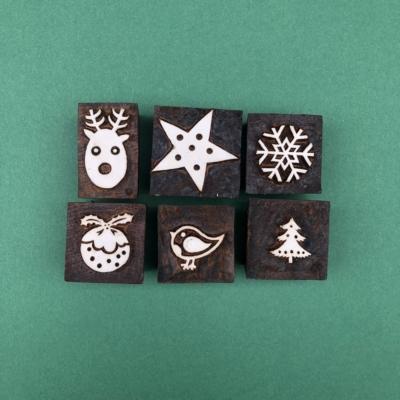 Indian Wooden Printing Set - 6 Christmas Designs