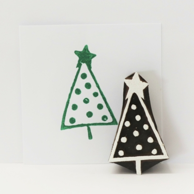 Indian Wooden Printing Block - Patterned Christmas Tree 2