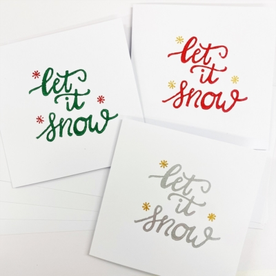 Block Printing Kit- Let it Snow Christmas Cards