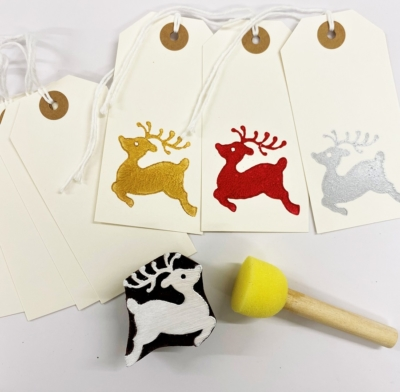 Block Printing Kit- Small Leaping Reindeer Gift Tags