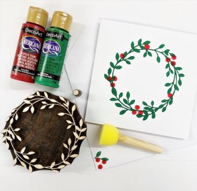 Block Printing Kit- Wreath and Berries Christmas Cards