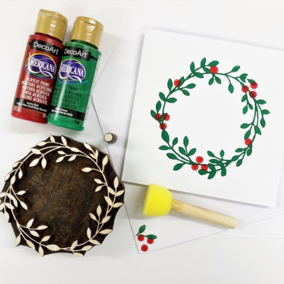Block Printing Kit- Wreath and Berries Christmas Cards