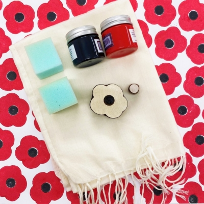 Block Printing Scarf Kit- Remembrance Day Poppy Scarf