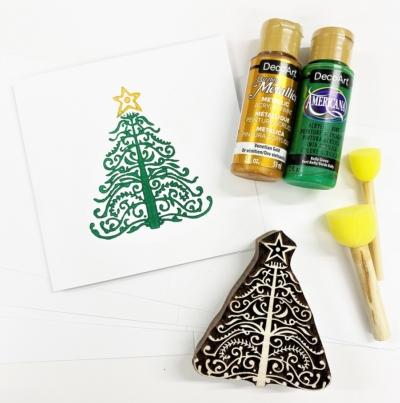 Christmas Cards Block Printing Kit- Chatsworth Tree