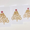 Merry Christmas Tree Block Printed Christmas Cards, Gold & Red