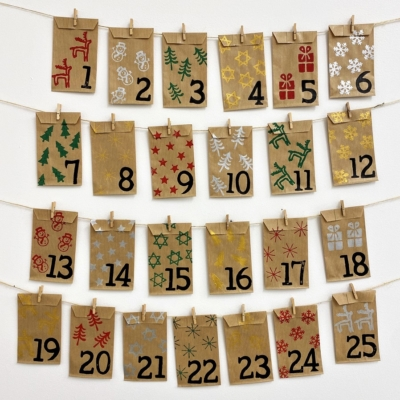 Hand Block Printed Christmas Advent Calendar