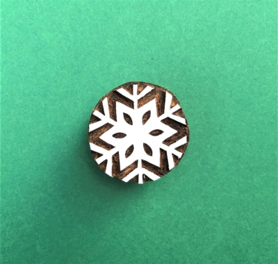 Indian Wooden Printing Block - 6 Point Snowflake