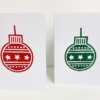 Indian Wooden Printing Block - Christmas Star Bauble Red & Green Cards
