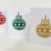 Indian Wooden Printing Block - Christmas Star Bauble Christmas Cards