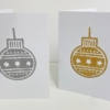 Indian Wooden Printing Block - Christmas Star Bauble Gold & Silver Cards