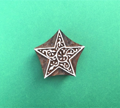 Indian Wooden Printing Block - Decorative Star