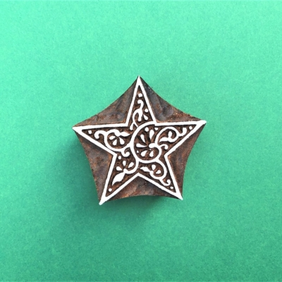 Indian Wooden Printing Block - Decorative Star