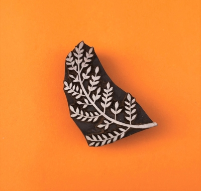 Indian Wooden Printing Block - Large Pretty Fern Leaf