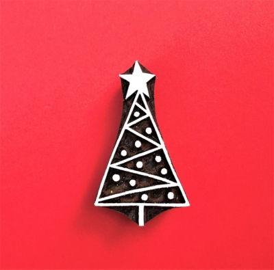 Indian Wooden Printing Block - Patterned Christmas Tree 1