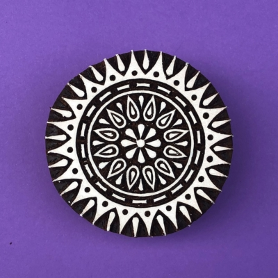Indian Wooden Printing Block - Stylised Circle 3