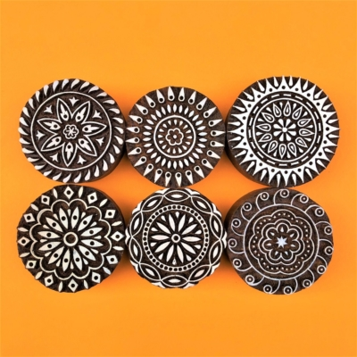 Indian Wooden Printing Block - Stylised Circle Set